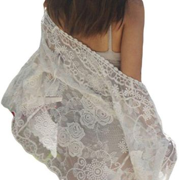 ONETOW Off White Sheer Rose Lace Beach Cover Up