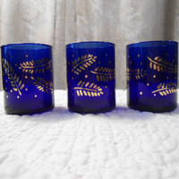 Set of 3 Cobalt Blue Gold Leaves Candle Holder Home Decor Hippie Boho Alter Shabby Chic