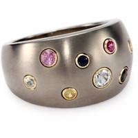 Women's Grey Titanium and 18k Yellow Round Multi-Color Sapphire Dome Ring, Size 7