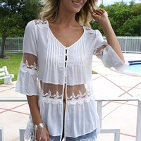 All Lace Tunic Top - White