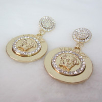 Versace New fashion diamond women retro earrings Golden