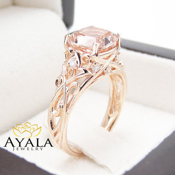 Peach Pink Morganite Engagement Ring 14K Rose Gold Cushion Ring Cushion Cut Morganite Ring Unique Engagement  Ring