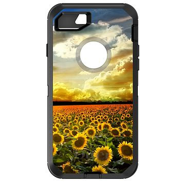 DistinctInk™ OtterBox Defender Series Case for Apple iPhone / Samsung Galaxy / Google Pixel - Green Blue Yellow Sunflowers