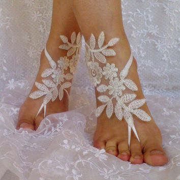 ivory silver frame beach wedding barefoot sandals bridal lace shoe woman accessories bridesmaid gift woman shoes