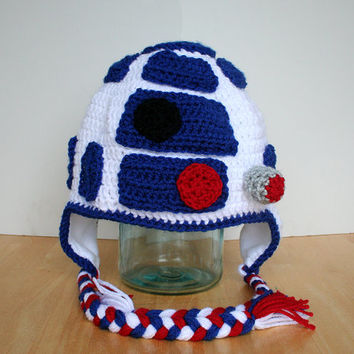 Toddler Droid Hat, R2D2 Hat for babies and toddlers, Star Wars inspired crochet droid Hat, halloween costume, Sizes newborn 12 months to 4t