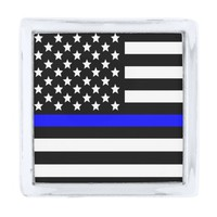 Police Thin Blue Line American Flag Silver Finish Lapel Pin