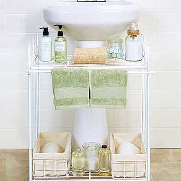 Pedestal Sink Shelves with Baskets