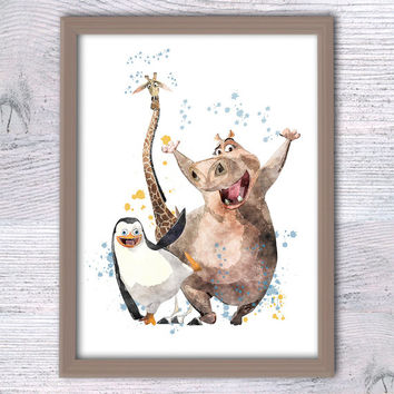 Madagascar animals, Funny animals, Wall art, Penguins of Madagascar Print, Nursery Watercolor Art Poster, Giraffe, Hippo Comic poster, V66