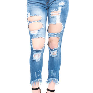 LOW RISE DESTROYED SKINNY JEAN - SALE