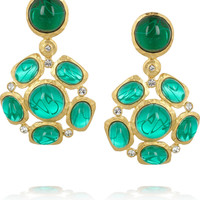 Kenneth Jay Lane|Gold-plated, crystal and resin clip earrings|NET-A-PORTER.COM