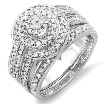 1.10 Carat 14K White Gold Diamond Engagement Halo Bridal Engagement Ring Set