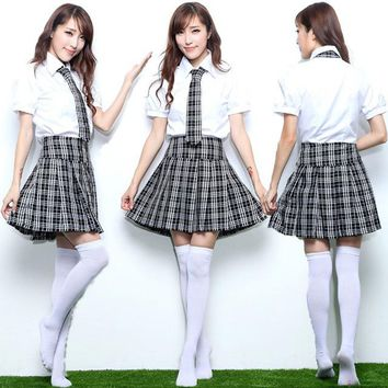 Adult Girls Japanese Korea School Students Costume Suit Short Sleeve Blouse Plaid Pleated Skirt Anime Sweet Outfit For Teen