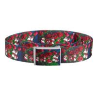 Abstract red and White Roses Bouquet Belt