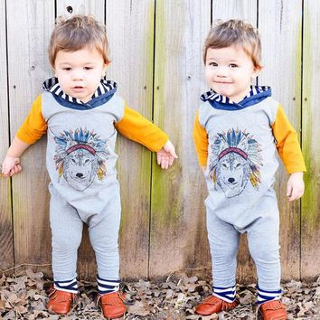 Fashion Spring Newborn Baby Boys Girls Indian Wolf Hoodie Romper Jumpsuit Outfits Clothes kids children clothing