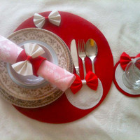 Red Placemat set, Placemat set, Placemat and coasters set, Placemat and coasters, Coasters set, Napkin rings, Table mat set, Red coasters
