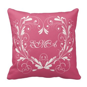 Valentine Initials Personalized Pink Heart Pillows