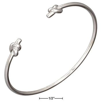 Sterling Silver Double Love Knot Cuff Bracelet