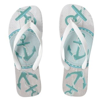 Aqua Nautical Anchors Pattern Summer Flip Flops