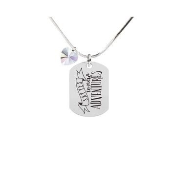 Inspirational Tag Necklace In AB Made With Crystals From Swarovski  - SAY YES