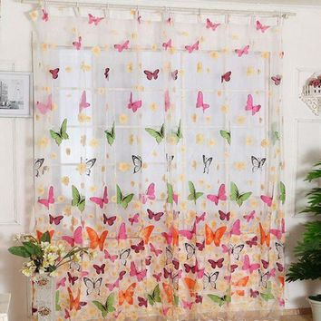 ICIKU7Q Super Deal Hot!Butterfly Print Sheer Window Panel Curtains Room Divider New For Living Room Bedroom Girl 200X100CM XT