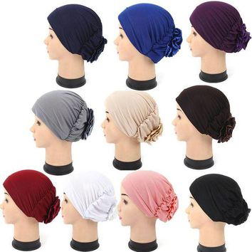 DCCKWJ7 KLV  Women summer cap Muslim Turban Cap Ruffle Tripe Hat Chemo therapy Hat Fashion Headwear for Women Head Wrap Cap hot sales