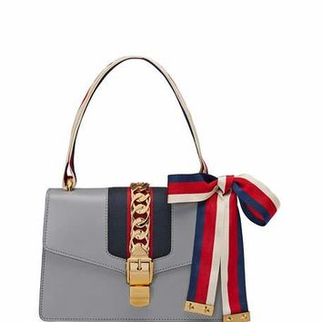 Gucci Sylvie Small Leather Shoulder Bag, Gray