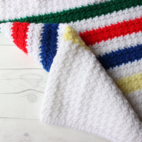 Vintage Afghan Throw Blanket | Bohemian Boho Chic Folk Bedding | Yarn Knitted | Granny Knit | White, Green, Red, Blue, and Yellow Yarn