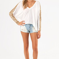 Sequined Stripes Sweater $40