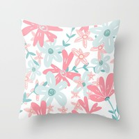 coral and mint flowers Throw Pillow by sylviacookphotography