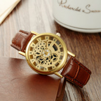 Sport Leather Watches Hollow Out Skeleton Watch Business Leather Sports Military Quartz Watch