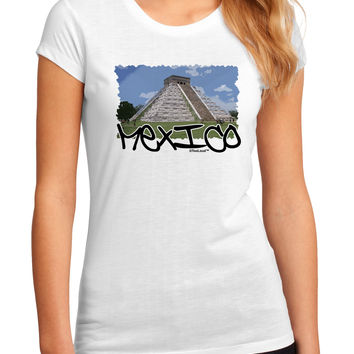 Mexico - Mayan Temple Cut-out Juniors Sublimate Tee