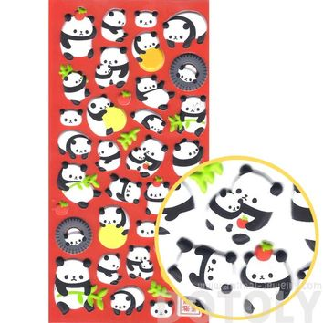 Chubby Panda Bear Animal Themed Puffy Stickers for Scrapbooking From Japan
