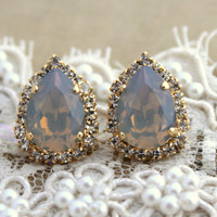 Grey Crystal big teardrop stud earring - 14 k plated gold post earrings real swarovski rhinestones .