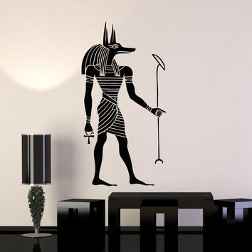 Vinyl Wall Decal Anubis God Egyptian Style Ancient Egypt Art Stickers Mural Unique Gift (ig5044)