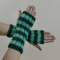 Fingerless Gloves Stripes Green Arm Warmers Hobo Mint Medium Striped Warm Hand Wrist Soft
