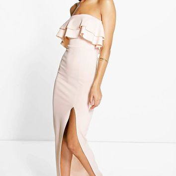 Huda Double Layer Frill Peplum Maxi Dress | Boohoo