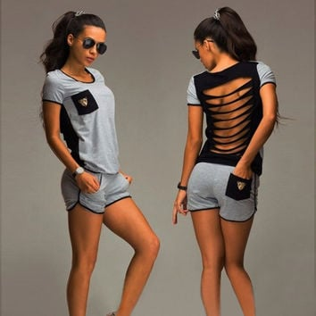 Scoop Hollow Out Patchwork T-shirt Shorts Two Pieces Set