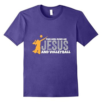 This Girl Runs On Jesus And Volleyball T-Shirt Christian Tee