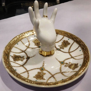 Antique Nippon Hand Ring Holder Gold Moriage Jeweled Porcelain 1920s 20s Art Deco Boudoir Vanity Dressing Table Accessory Japan Japanese