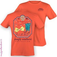 Simply Southern Preppy Collection Bows and Boots T-Shirt in Coral