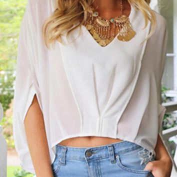 White Plain Irregular Crop V-neck Long Sleeve Blouse