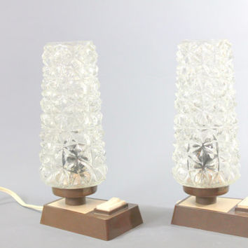 Vintage Pair of Bedside Table Lamps Crystal Glass Plastic 1960's1970's Space Age Panton Style