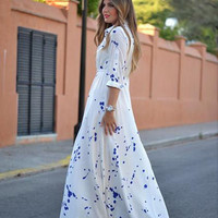 White Blue Dots Sleeve Maxi Dress