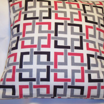 Decorative Pillow Cover, Throw pillow Cover Single 18 x 18 Red, Black, Gray and White Design
