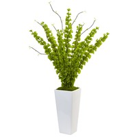 Artificial Flowers -Bells of Ireland in White Planter
