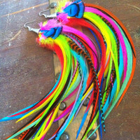 Handmade Long Feather Earrings - Spring Fling - Bright Colorful Neon Rainbow dangle earrings extra long 12 inch neon Jewelry SALE