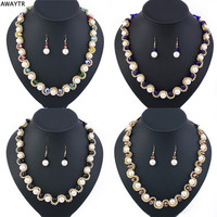 AWAYTR 2016 Women Crystal Pearl Jewelry Set New Simulated-pearl Necklace Earrings Set Elegant Wedding Gift Costume Jewelry Sets