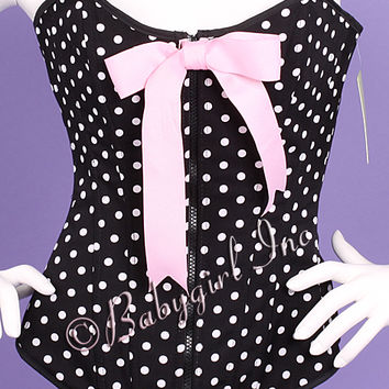 Naughty Lola Corsets - Black & White Polka Dotted Rockabilly Pinup Corset with Boning, Lace-up Back & Flirty Pink Bow