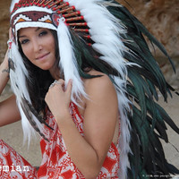 LONG Feather Headdress On Soft White Leather Black Feather Headpiece Brown Bead by Paradise Gypsies