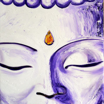 Purple Buddha Face Original Oil Painting